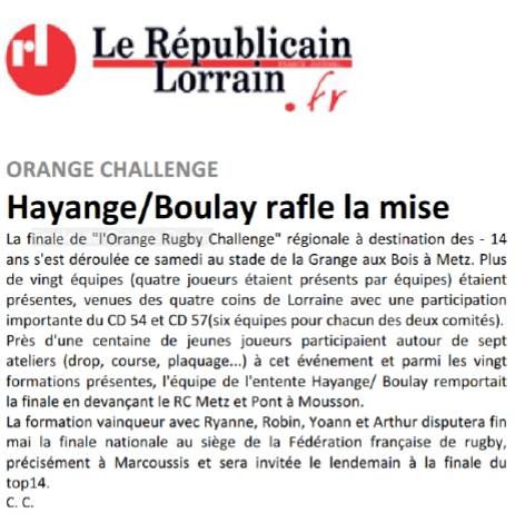 Le Républicain Lorrain, page Sports du 10.04.2017